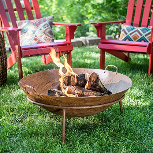 Wood Burning Fire Pit Bowl Made of Steel in Copper Finish with Mesh Spark Screen, Screen Lift Tool, and All-Weather Cover