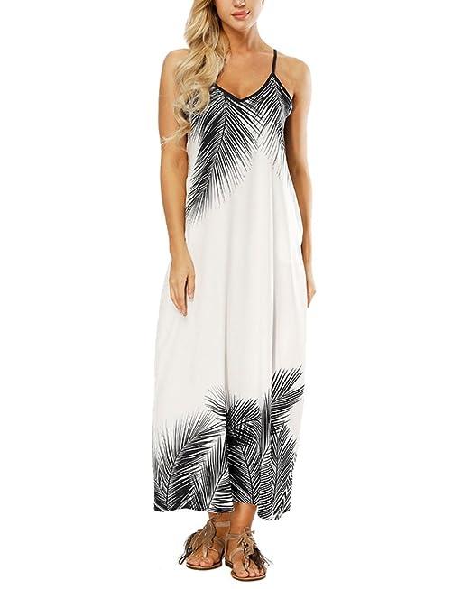 39013b161 AnyuA Boho Maxi Vestidos Camisolas Largos Mujer Elegantes Sin Mangas  Estampado Floral  Amazon.es  Ropa y accesorios