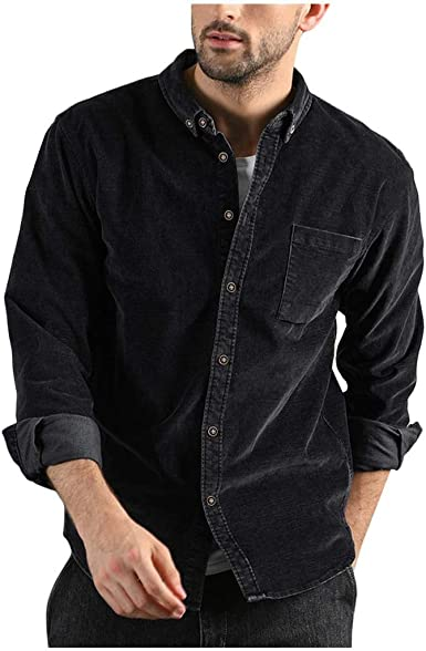 Mens Casual Oversized Tops Long Sleeve Button Pockets Pullover Loose Shirts