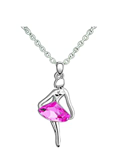 The Dance Bible Women Pink Crystal Ballet Dance Pendant Necklace Gifts Girls | Dance Accessories | Gifts for Dancers Pendants Necklace