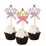 10 Pieces Gold Silver Crown Wedding Cake Topper
