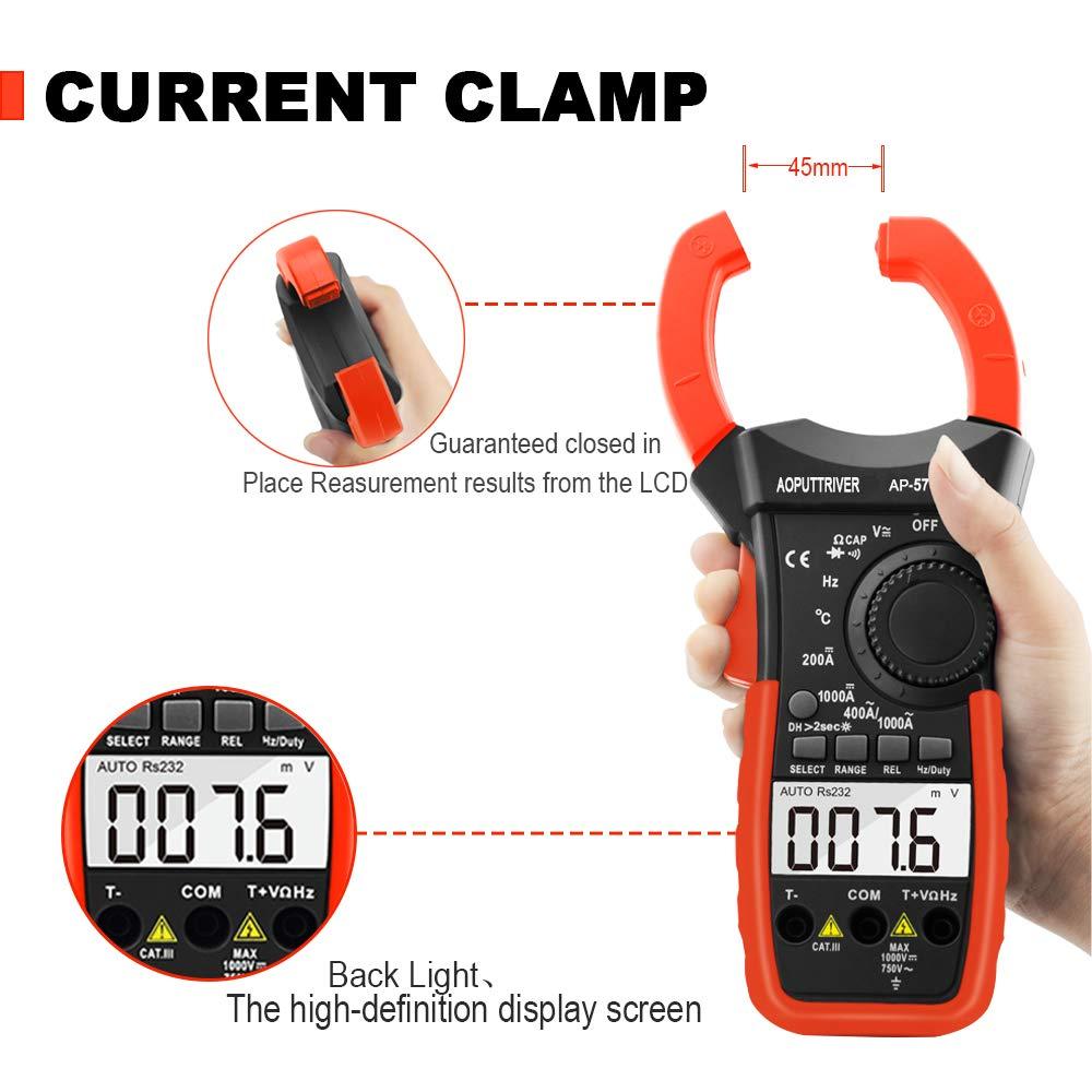 Digitale Pinza Amperometrica,AP-570C-APP Amplificatore Bluetooth con amplificazione automatica per AC/&DC Amperaggio corrente Tensione resistenza temp con continuit/à retroilluminata