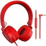 PuroBasic Volume Limiting Wired Headphones for Kids, Boys, Girls 2+ Foldable & Adjustable Headband w/Microphone, Compatible w