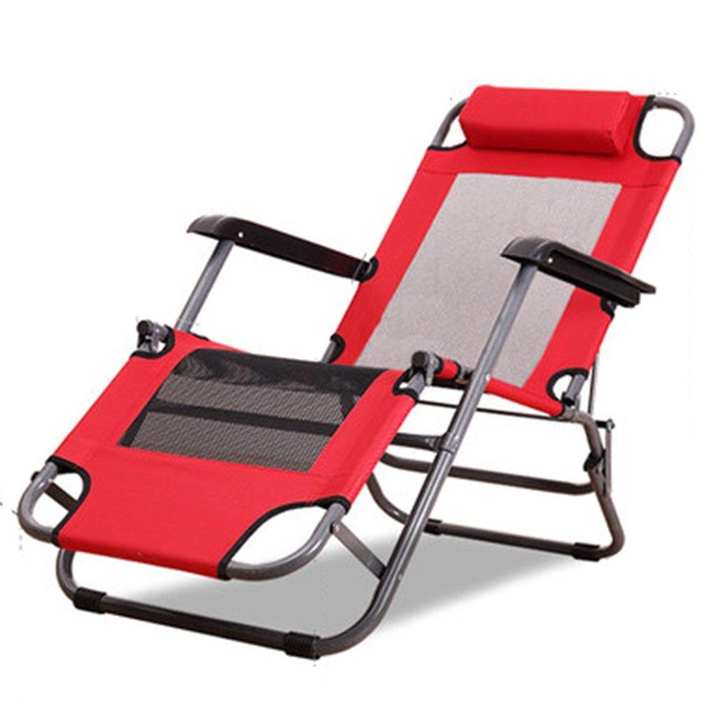 Ren Chang Jia Shi Pin Firm Feldbetten Lounge Chair Klappstuhl Mittagspause Stuhl Bürostuhl Strandkorb Freizeit Stuhl Schwangere Frau Stuhl Balkon Stuhl (Farbe : ROT)