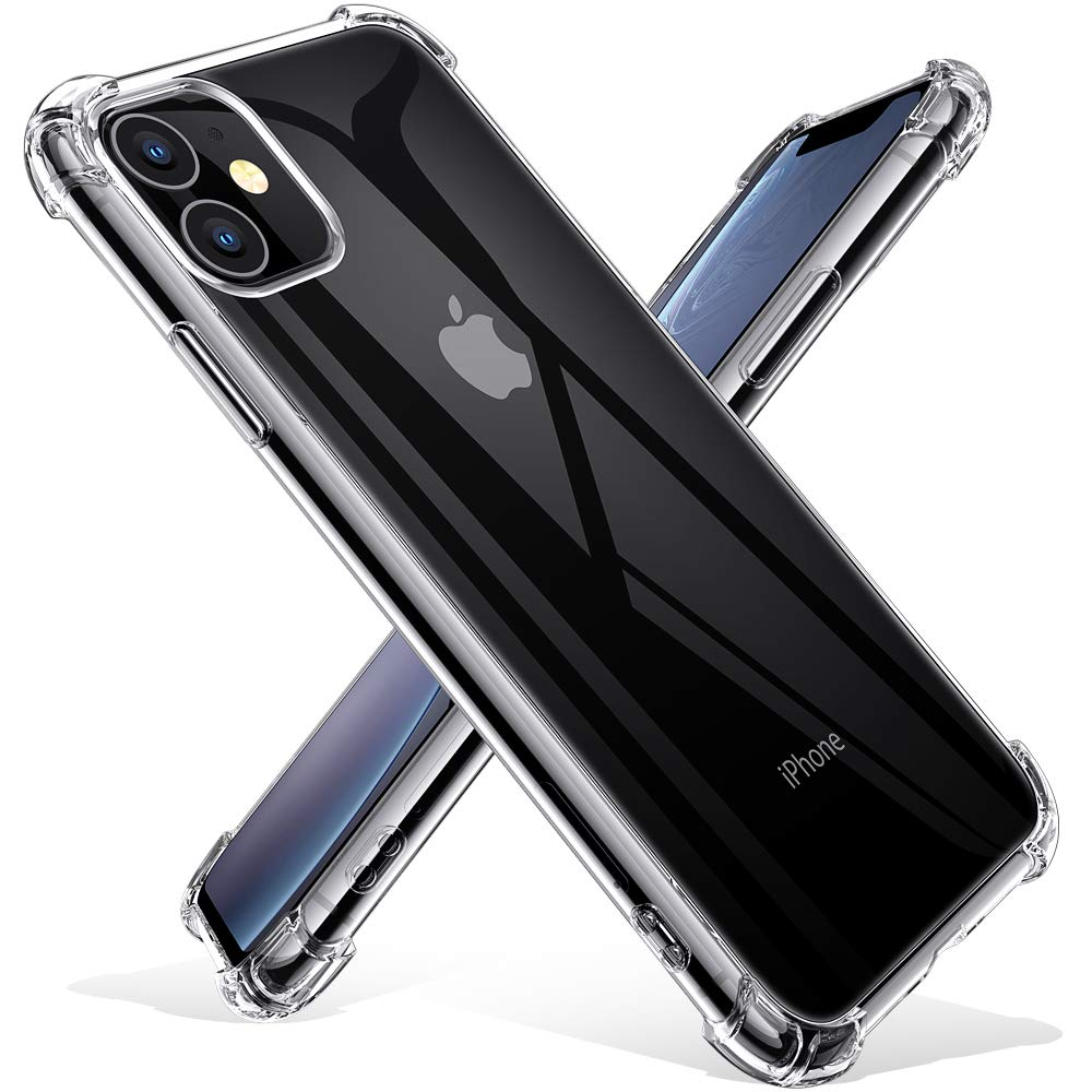 Joyguard Case for iPhone 11 with 2 Tempered Glass Screen Protectors, Shockproof Anti-Scratch Soft TPU Bumper Silicone Cover for iPhone 11 - Clear 6.1inch