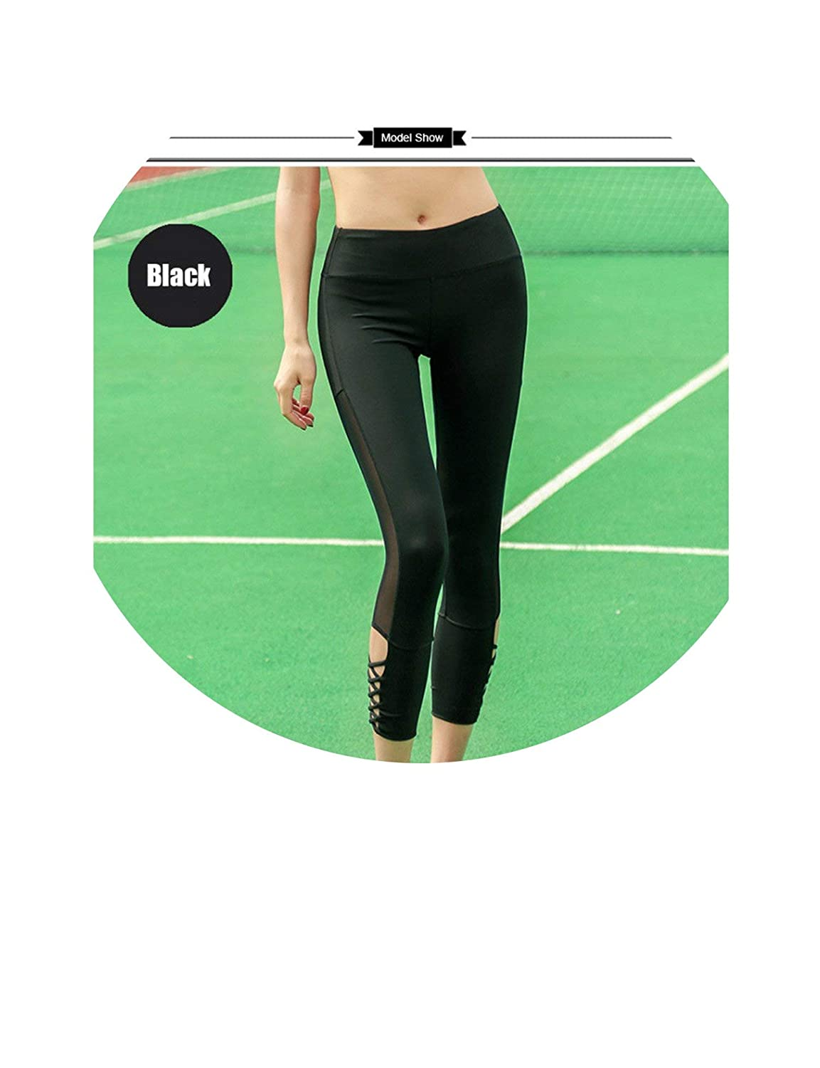 Black Small Pure color Fitness Yoga Pants Workout Leggings Gym Women Middle Waist Tights SeeThrough Trousers