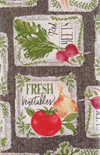 Nantucket Farm Fresh Produce Patchwork Vinyl Flannel Back Tablecloth (60