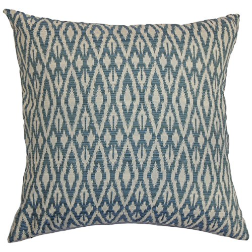 The Pillow Collection P18FLAT-D-71025-DENIM-C100 Hafoca Ikat Throw Pillow Cover, 18