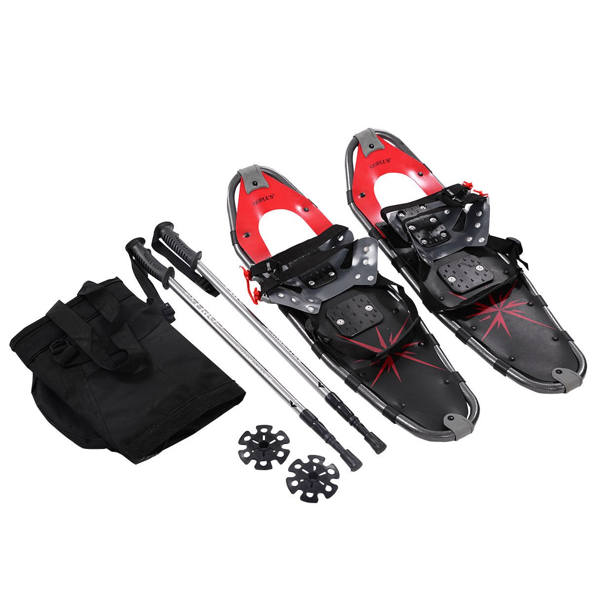 Goplus Snowshoes All Terrain Sports with Anti-Shock Adjustable Poles & Carrying Bag for Adults Snow Shoes 27'' Red by Goplus