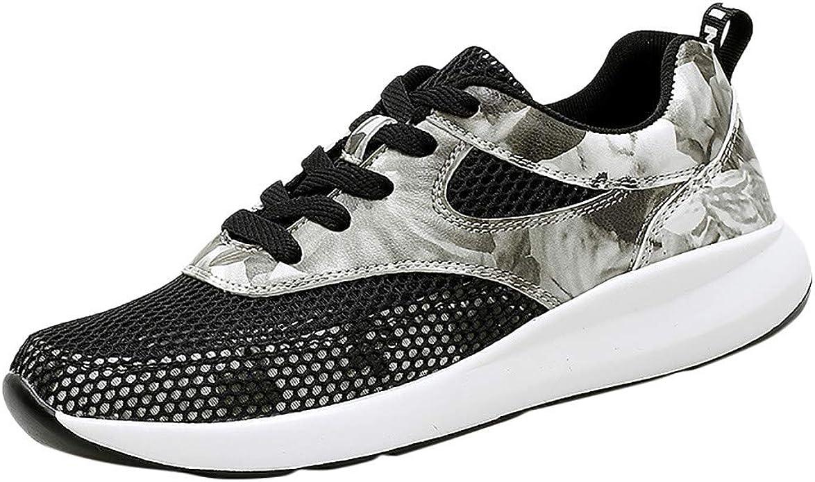 Zapatillas de Deporte para Mujer con Malla Antideslizante y Dedos Redondos, Monocromo, Color Negro, Talla 35 EU: Amazon.es: Zapatos y complementos
