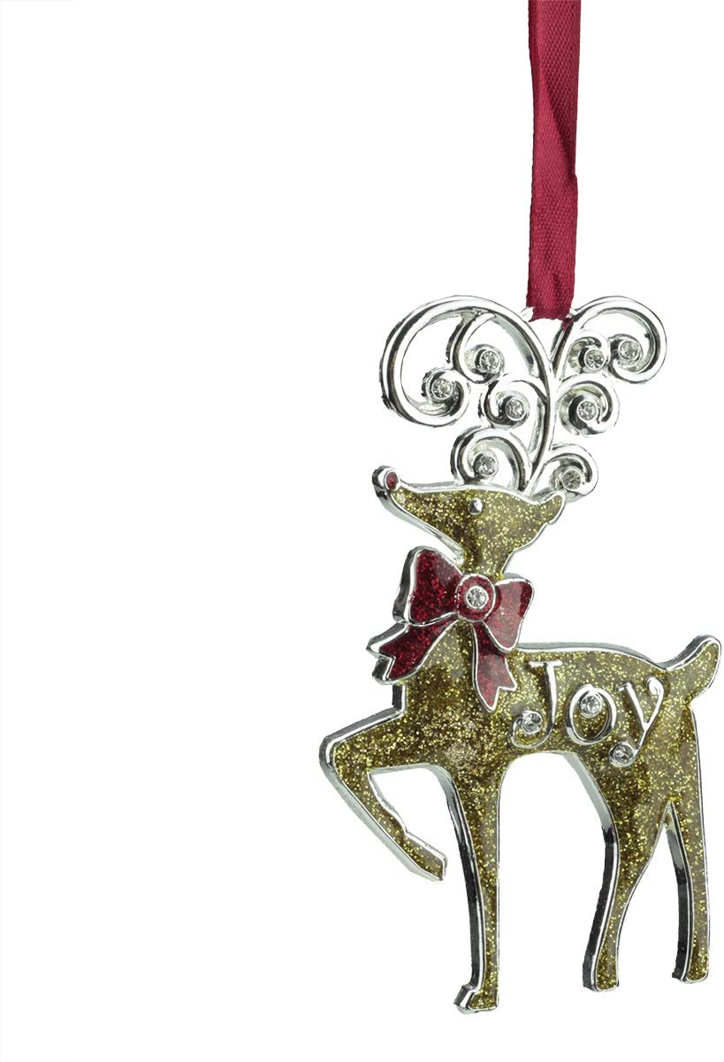 Amazon Com Northlight Regal Shiny Silver Plated Gold Glitter Joy Reindeer Ornament With European Crystals 3 75 Home Kitchen