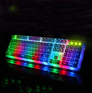 PB Sensación mecánica dos colores teclado retroiluminado Cable USB de cristal de luz colorida,Blanco: Amazon.es: Hogar