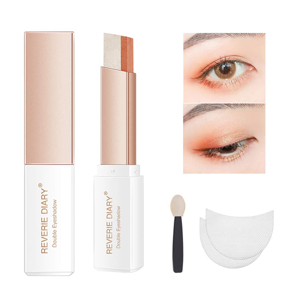 Three-piece eyeshadow stick eyeshadow prush eyeshadow sticker, eyeshadow stick two-color gradient glitter eye shadow pen rotating design, simple makeup, waterproof and not Blooming(Orange)