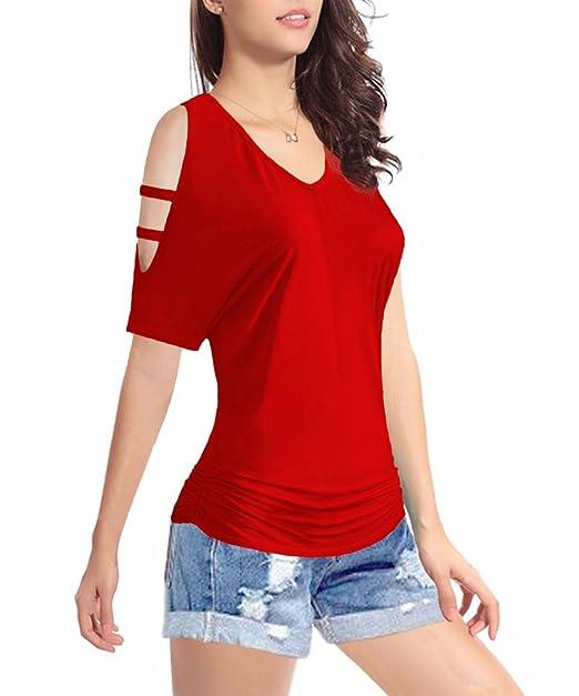 Amazon.com: Camisa de manga corta con cuello en V para mujer ...