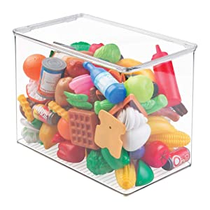 "mDesign Stackable Closet Plastic Storage Bin Box with Lid - Container for Organizing Child's/Kids Toys, Action Figures, Crayons, Markers, Building Blocks, Puzzles, Crafts - 9"" High - Clear"