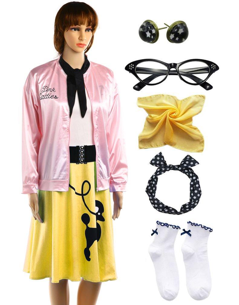 Hofolio 1950s Pink Ladies Jacket Outifit with Poodle Dress