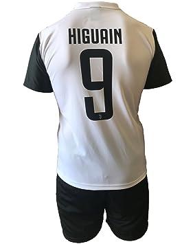 Conjunto Equipacion Camiseta Pantalones Futbol Juventus Gonzalo Higuain 9 Replica Autorizado 2017-2018 Niños Adultos