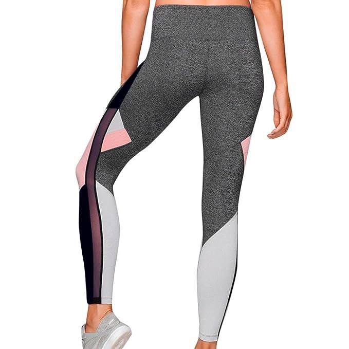 Yoga Mujer Deportivas Pantalones, Malla de Costura de Colores ...