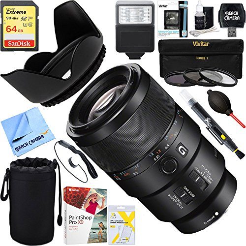 Sony (SEL90M28G) - FE 90mm F2.8 Macro G OSS Full-frame E-mount Macro Lens + 64GB Ultimate Filter & Flash Photography Bundle