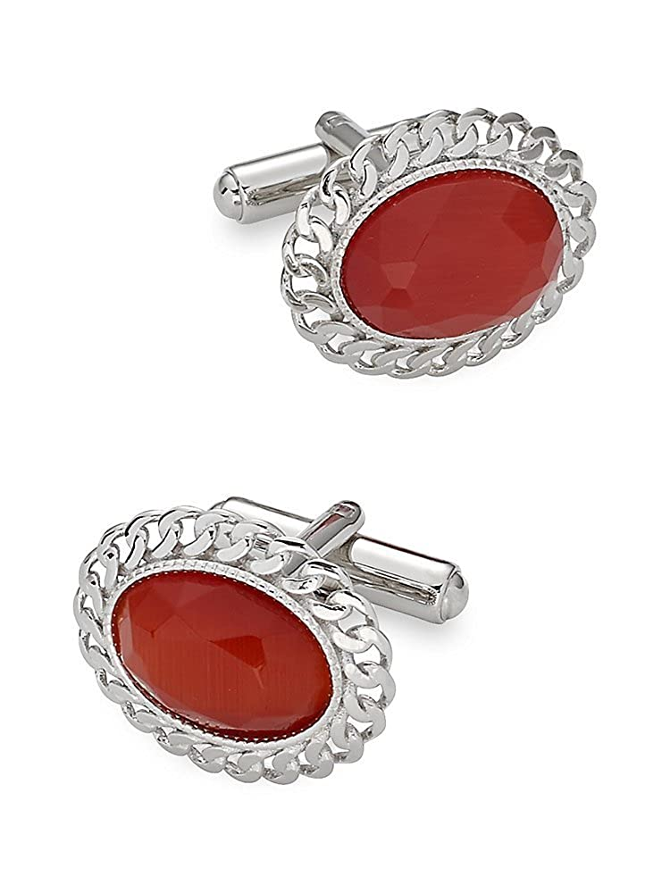 1940s Mens Clothing Paul Fredrick Mens Cats Eye Oval Cufflinks $37.25 AT vintagedancer.com