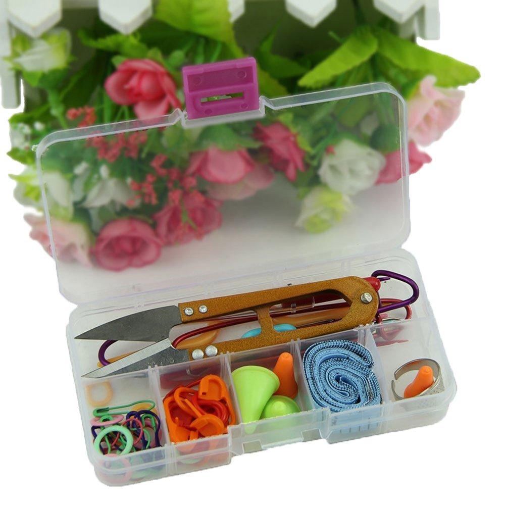 Leegoal Knitting Accessory Kit Basic Tool Set /& Plastic Clear Color Tool Case