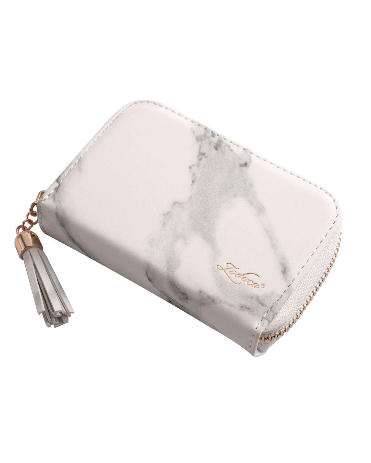 Zodaca Zipper Credit Card Holder Lightweight Accordion Wallet Slim Card Case for Women/Men, 10 Card Slots for ID Card, Business Cards, Bank Notes, White Marble 2440192