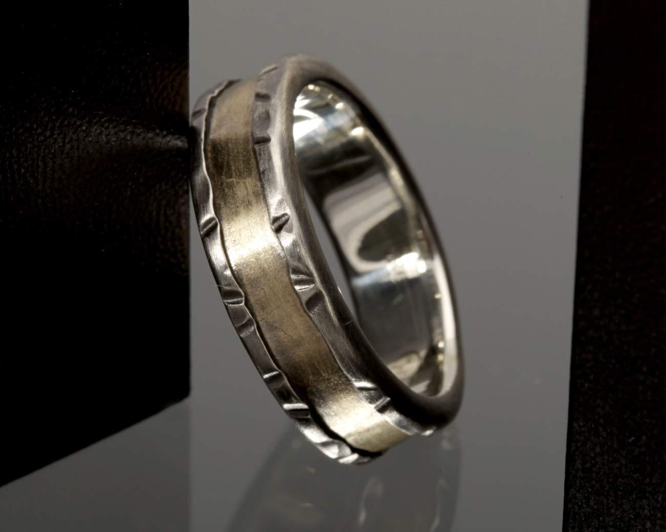 Amazon Com Mens Gold Wedding Ring Gold And Silver Wedding Band