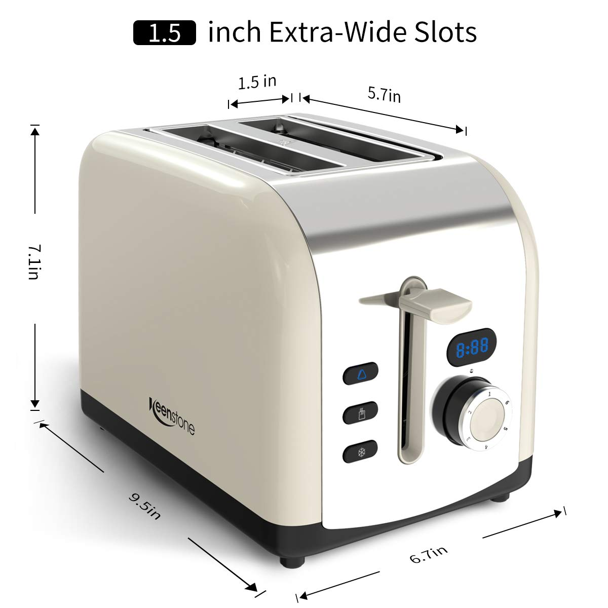 Toaster 2 Slice, Retro LCD Timer Display Stainless Steel Toasters, Extra Wide Slots with Reheat, Cancel, Defrost Function, Cream