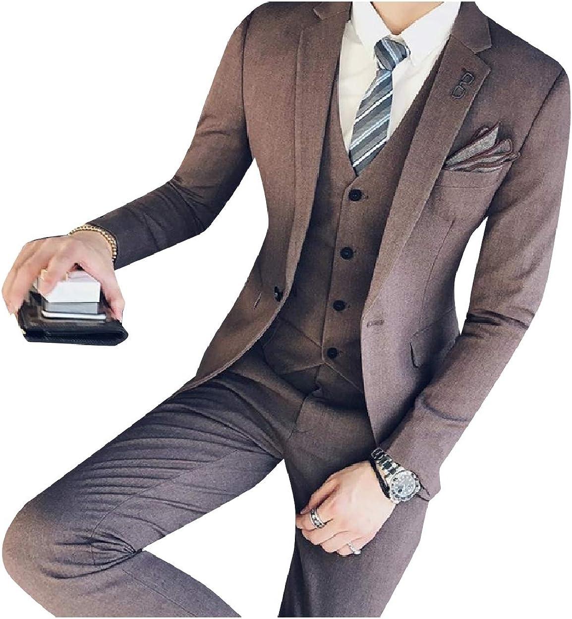 Sebaby Mens Retro Slim Fit 3 Piece Suit Casual//Formal//Wedding Tuxedo