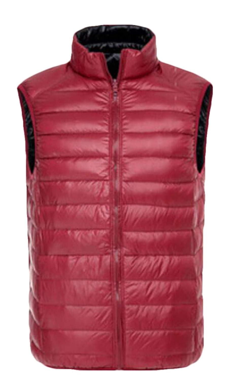 KLJR Men Winter Sleeveless Full Zip Stand Collar Lightweight Down Puffer Vest