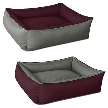 BedDog 2 en 1 MAX Duo Burdeos/Gris XL Aprox. 100x85cm colchón para Perro