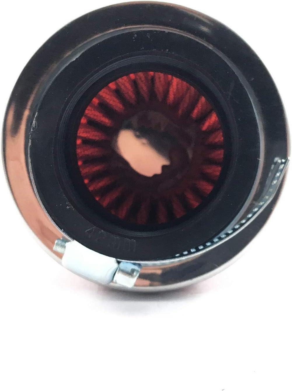 250 ccm ad esempio Baotian Rexoto Flex Tech JMSTAR BENZHOU YIYING REX BERO HYOSUNG PEGASUS 4 TAKT CHINA Roller RACING SPORT Filtro aria 42 mm in acciaio inox cromato look//filtro rosso//50