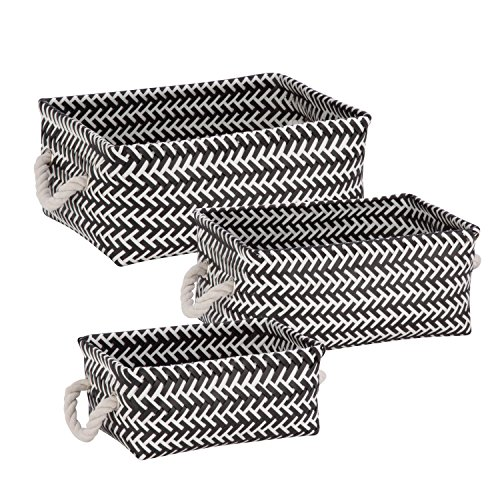Honey-Can-Do STO-06687 Zig Zag Set of Nesting Baskets with Handles, Set of 3-Pack, Black