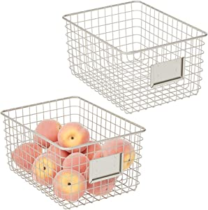 mDesign Farmhouse Decor Metal Wire Food Organizer Storage Bin Basket for Kitchen Cabinets, Pantry, Bathroom, Laundry Room, Closets, Garage, 2 Pack - Satin