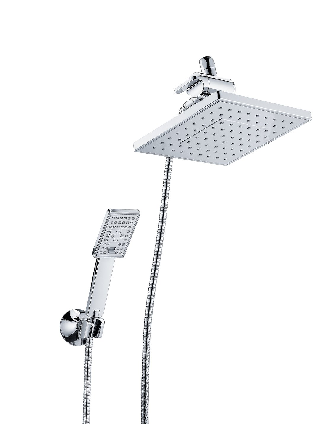 Bright Showers - Handheld Shower Head and Overhead Rain Shower Combo Set - Includes Wall Suction Bracket, 3-Way Diverter Mount and 5 ft. Stainless Steel Hose – Chrome Finish
