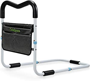 OasisSpace Bed Rail for Seniors, Medical Bed Assist Bar with Storage Pocket and Fall Prevention Safety Hand Guard Grab Bar for Elderly, Handicap- Fit King, Queen, Full, Twin
