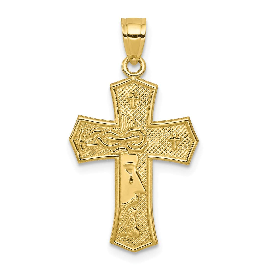 Amazon.com  10k Yellow Gold Passion Cross Religious Jesus Reversible Pendant  Charm Necklace Latin Fine Jewelry Gifts For Women For Her  Jewelry 7b6869dda7