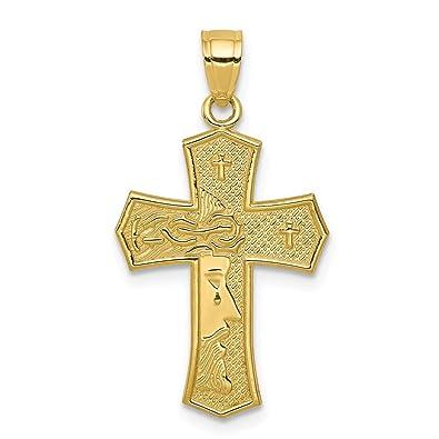 Amazon.com  10k Yellow Gold Passion Cross Religious Jesus Reversible ... b3a0c043be