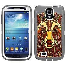 Skin Decal for Otterbox Defender Samsung Galaxy S4 Case - Aztec Wolf Head Orange