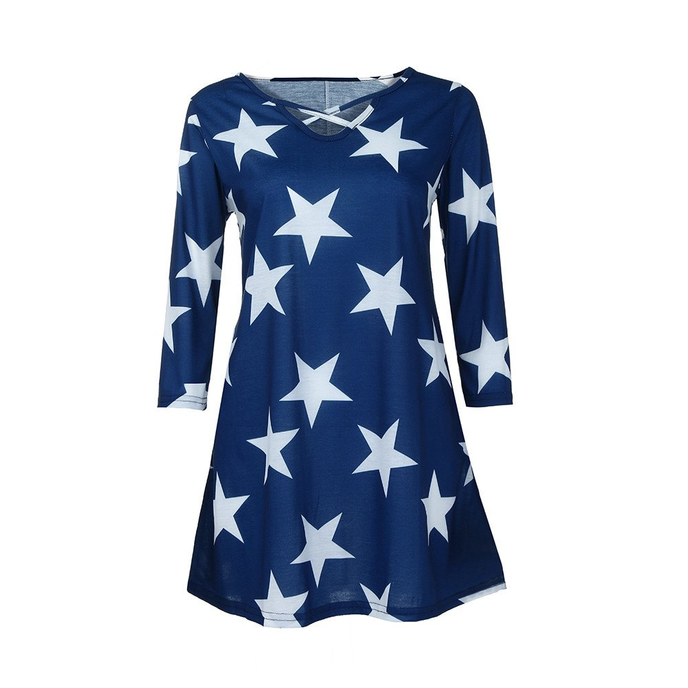 Blouse For Women-Clearance Sale,Farjing Three Quarter Sleeve Star Printing Casual Tops T-Shirt Loose Blouse(US12/2XL,Blue)