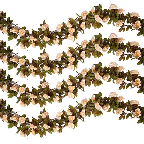 Pauwer 6PCS(44.3FT) Artificial Rose Vine Silk Flower Garland Hanging Fake Roses Flowers Plants for Home Garden Office Hotel Wedding Party Decor, Champagne