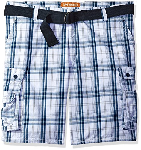 Lee Men's Big and Tall Dungarees New Belted Wyoming Cargo Short, Blue Conner Plaid, 46W