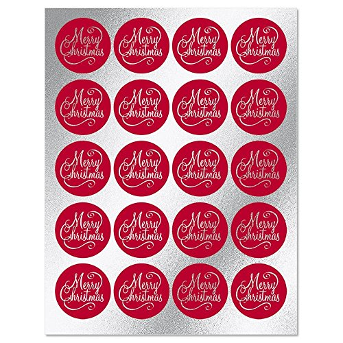 (Foil Merry Christmas Sticker Seals - Set of 40, 2 sheets, Merry Christmas Red Envelope Seals )