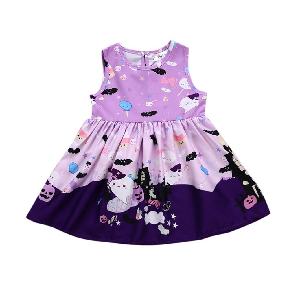 Girls Dress Ankola Toddler Infant Baby Girls Ghost Print Dresses Halloween Costume Outfits (3 Years, Purple)