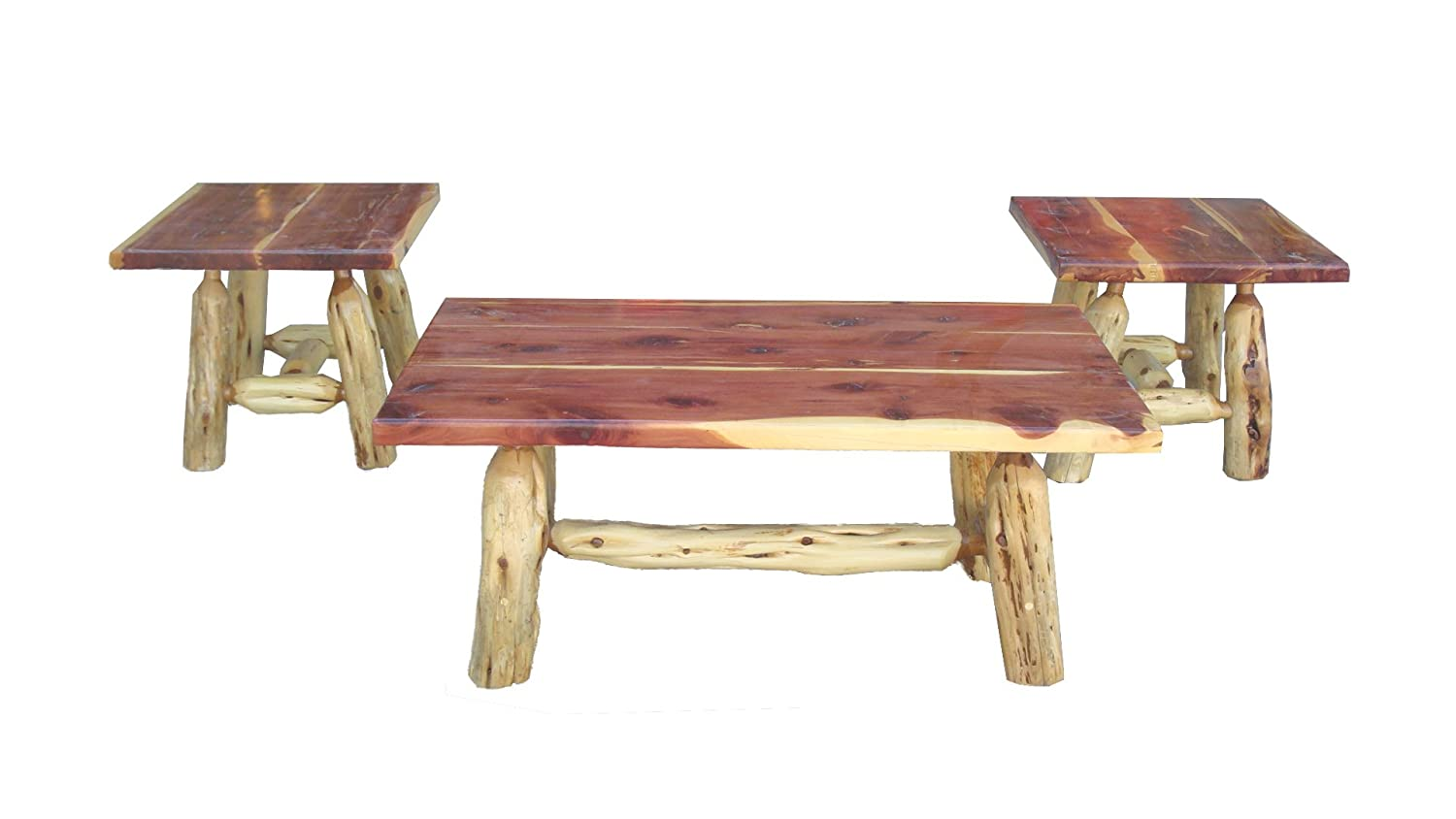 Amazon.com: Red Cedar Coffee Table And End Table Set Handmade Live Edge One  Of A Kind Furniture: Kitchen U0026 Dining