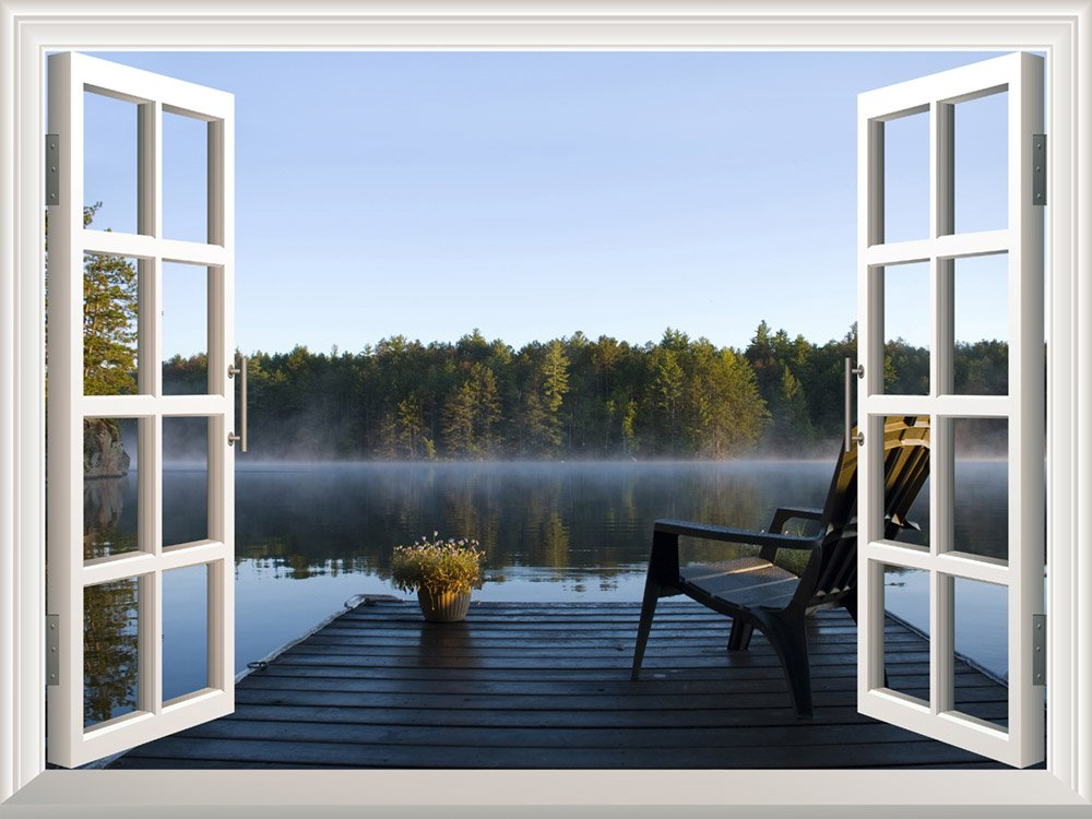 Removable Wall Sticker/Wall Mural - Peaceful Lake View with a Chair on a Wooden Pier   Creative Window View Wall Decor - 24''x32''