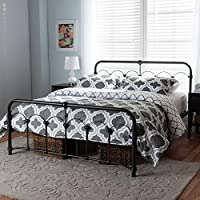Baxton Studio Celeste Metal Queen Size Platform Bed in Black