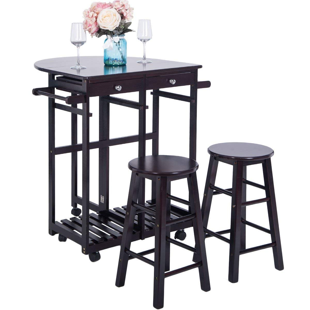 Breakfast Cart With 2 Stools,JULYFOX Drop Leaf Kitchen Island With Seating Chairs Wheels Storage Drawers Tower Rack Counter Height Tall Pub Bar Table Set 3 Piece Espresso For Small Spaces