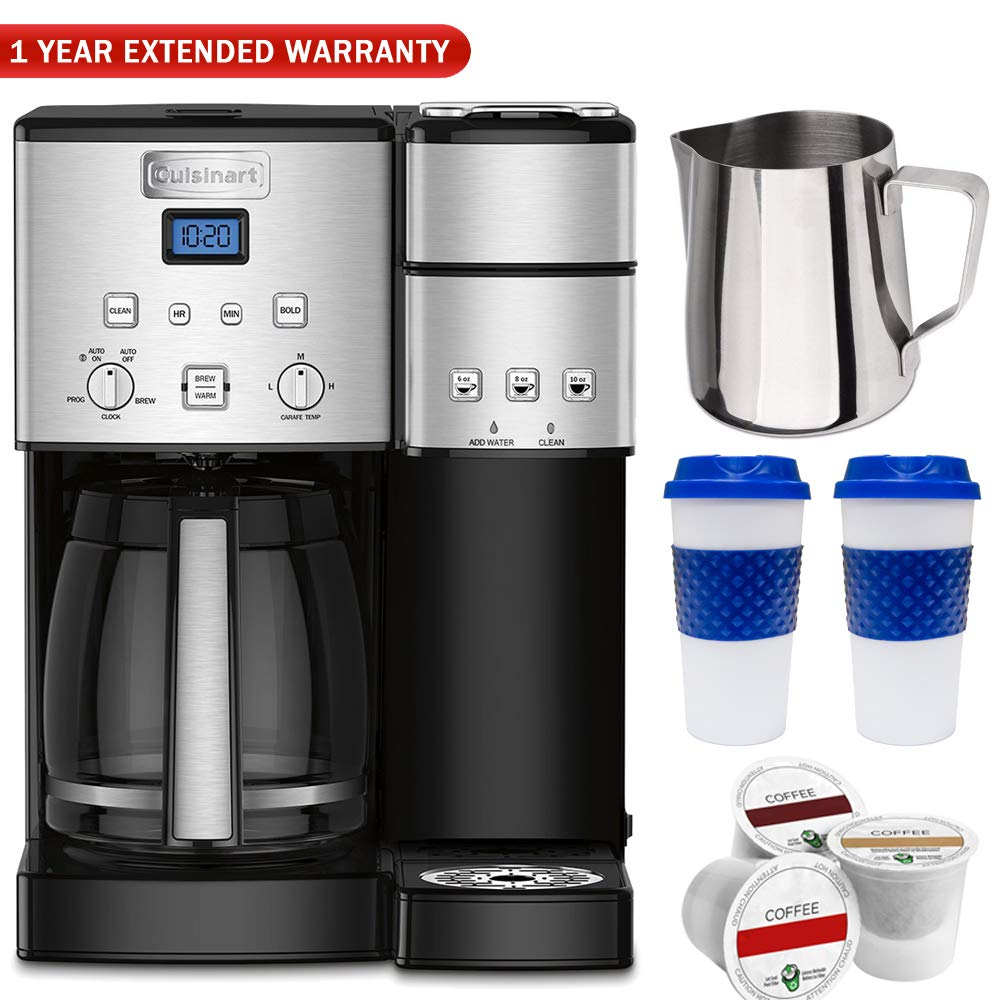 Cuisinart 12 Cup Coffeemaker and Single Serve Brewer SS-15FR (Certified Refurbished) with 1 Year Extended Warranty Bundle