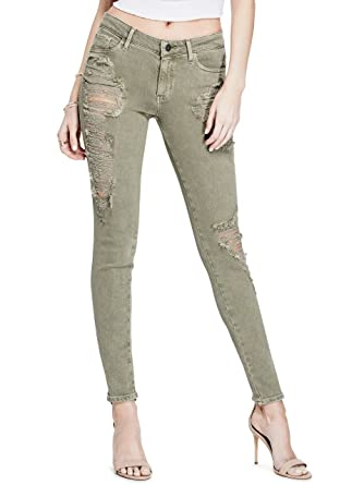 23fca387 GUESS Womens Ripped Curvy Skinny Jeans 26 Army Olive at Amazon ...